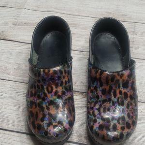 Dansko Colorful Leopard Print Clogs